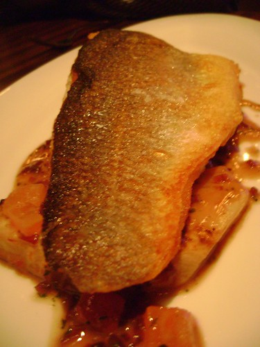 Pan Fried Fillet of Sea Bass with port and vinegar celeriac