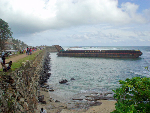 Abandoned Barge, Galle fort ramparts