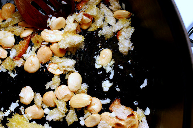 almonds, bread crumbs, garlic
