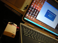 Flip Video Camera Connected by USB to Laptop