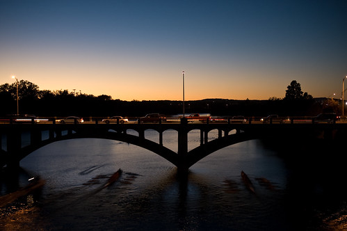 Rowing at night on Lady Bird Lake. (Photo by Laura Mundee)
