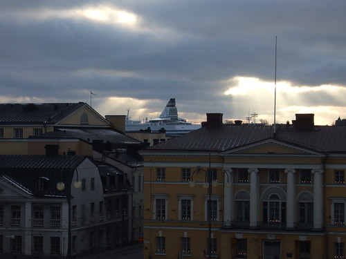 Ship seen from Helsinki Cathedral