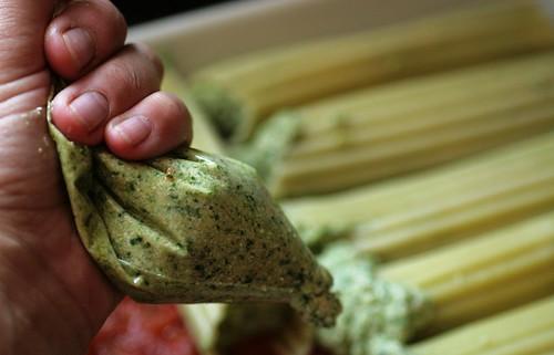 Stuffing the manicotti