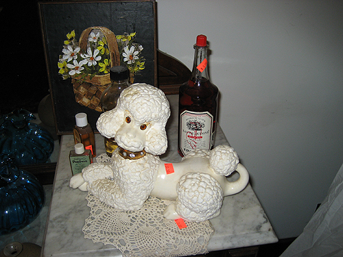 Still life with ceramic poodle
