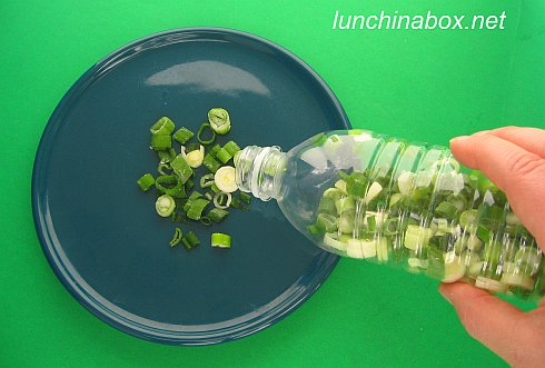 Freezing chopped green onions in plastic drink bottles