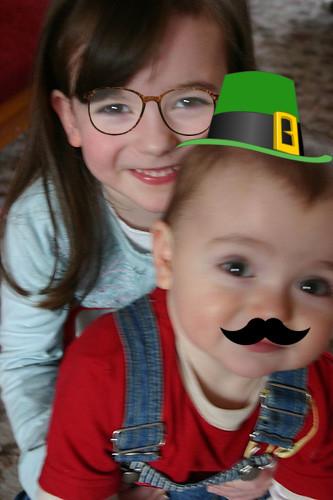 Kate with fake glasses, Sean as Leprechaun Mario.