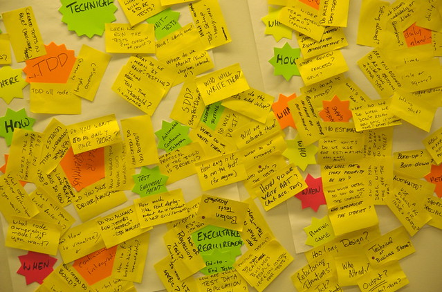 Sticky notes clustered together for an agile planning meeting