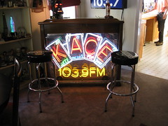 Robby Russell's bar customized with original KACE sign