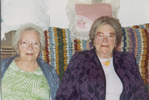 Grandma on the right, her older sister Peggy on the left.