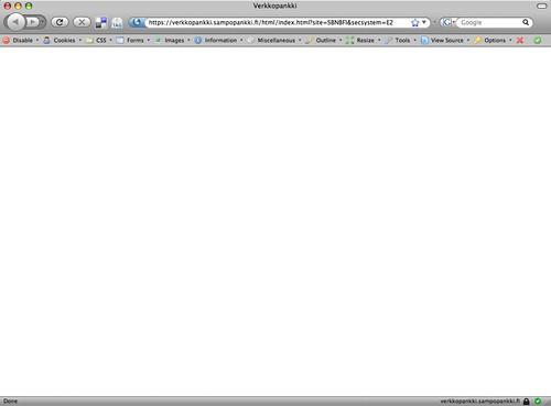 Sampo Online Bank on Firefox 3 Beta 4