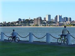 Cyclists with skyline