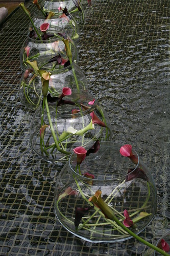 Fishbowl of cut lilies in fountain