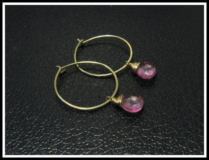 Pink Topas Goldfilled Hoops