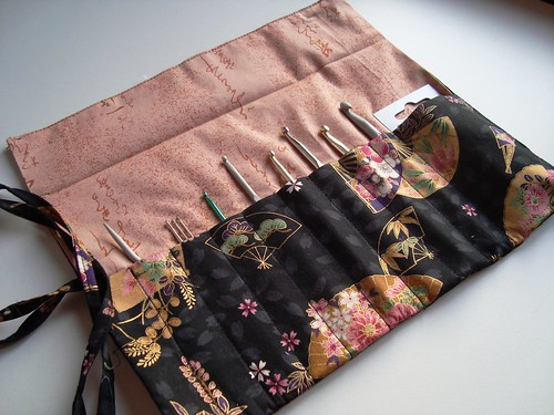 Crochet hooks roll - open