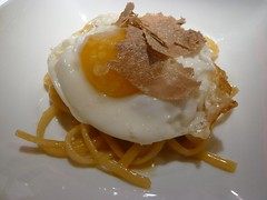 The Alba white truffle on top of the linguine