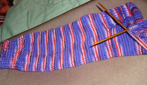 on the needles, red hat socks