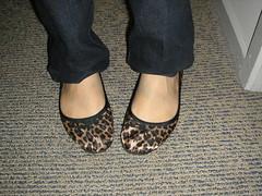 Satin leopard print flats