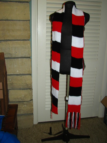 Red, White, & Black Custom Knit Scarf
