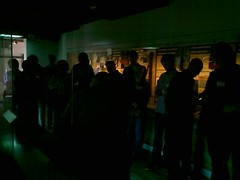 MCG people looking at projected displays at the Maritime Museum, Swansea