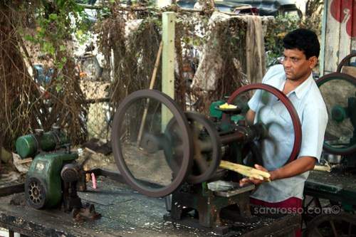 Making Sugar Cane Juice, Dandi Beach, India