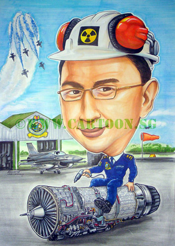 Air force colonel engineering unit sitting on a jet fighter engine that he maintains and inmprove. Singapore army cartoon by caricature artist. Farewell gift to commanding officer. Well wishes for new postings to another squadron in the military service. flypass, F16, hangar, runway.