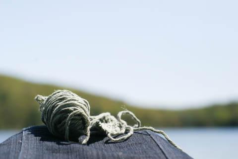 knitting at the beach