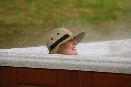Elaine hot-tubbing in the rain