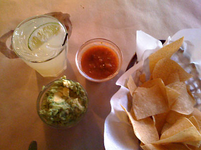 across the street margarita chips salsa guac