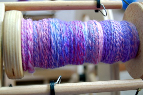 Plied yarn on bobbin