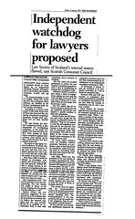 Scotsman 8 January 1999 Independent watchdog for lawyers proposed