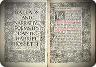 Portada y primera página de Ballads and Narrative Poems de Dante G. Rosseti. 1893.