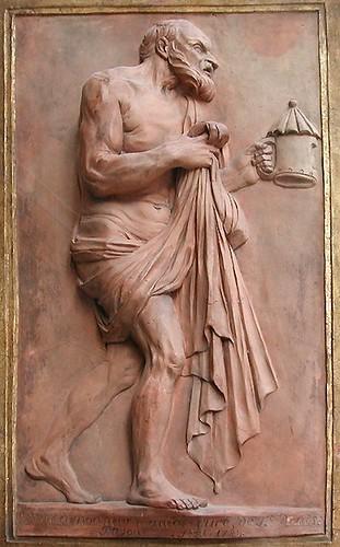 Diogène marchant dans les rues d'Athènes.