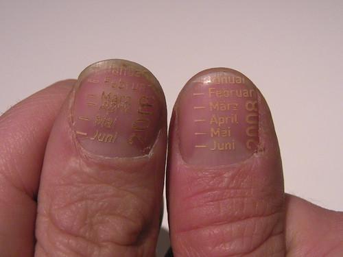 A Calendar Laser Etched Into Fingernails