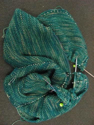 a bunch of garter stitch and beads