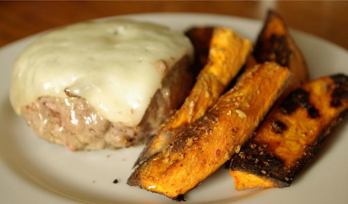cheeseburger and spiced yam wedges
