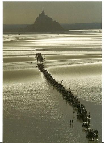 FRANCE postcard swap Traversée de la baie du Mt St Michel par manchot6150