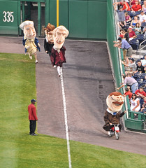 Teddy Roosevelt is disqualified for riding a motor scooter in the Washington Nationals presidents race.