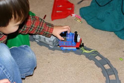 Giant lizard attack on Thomas