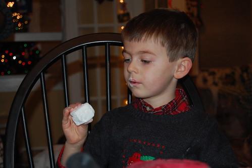 Tyler loves marshmallows