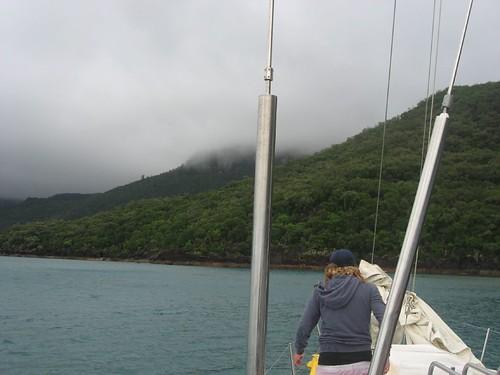 Storm clouds above an island