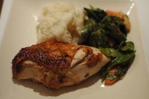Roast chicken and cassava mash