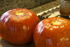 Roasted whole pumpkins