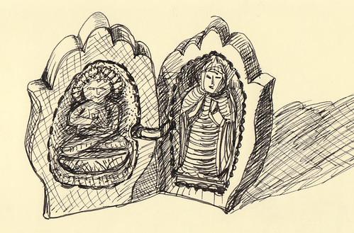 Carved folding Buddhas-inside