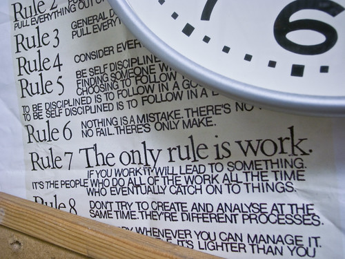 A bunch of rules typed on a board