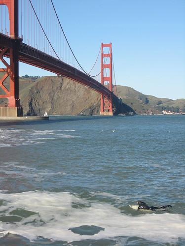 Surfing near the bridge