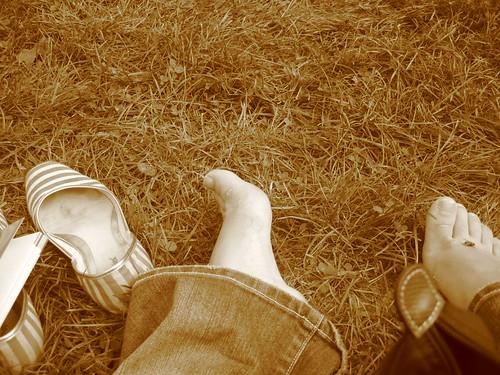 Tired feet after a walking weekend in Milan