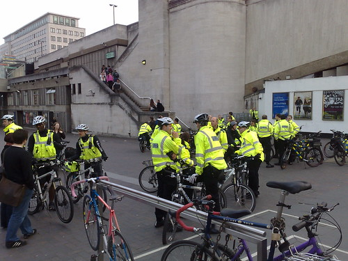 Police on bicycles at Waterloo bridge