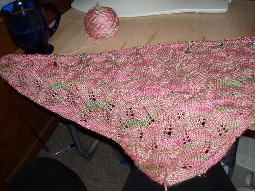 Tuscany lace shawl progress so far