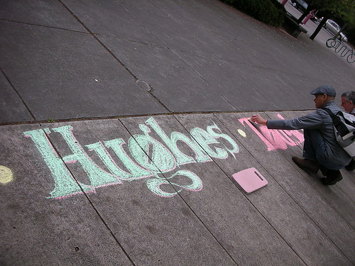 Ceasar, whose brother is currently deployed in iraq, colors in a name out side of Nordstroms, May 6th 2008.
