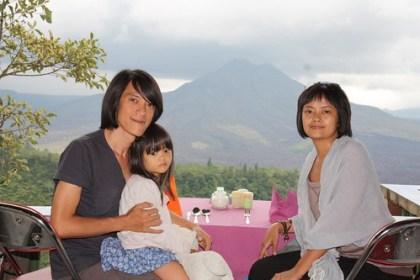 family portrait looking over kintamani
